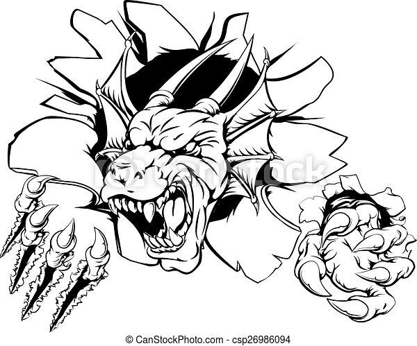 Angry dragon sports mascot - csp26986094