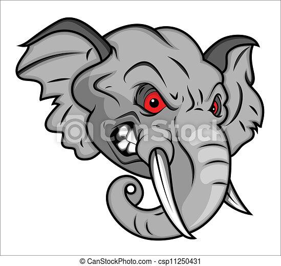 Angry Elephant Mascot Illustration - csp11250431