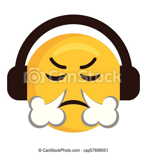 Angry emoji with headphones icon