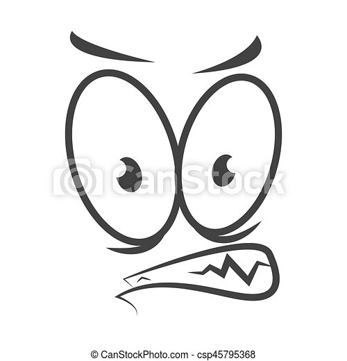 Angry emotion icon logo design. Wicked cartoon face - csp45795368