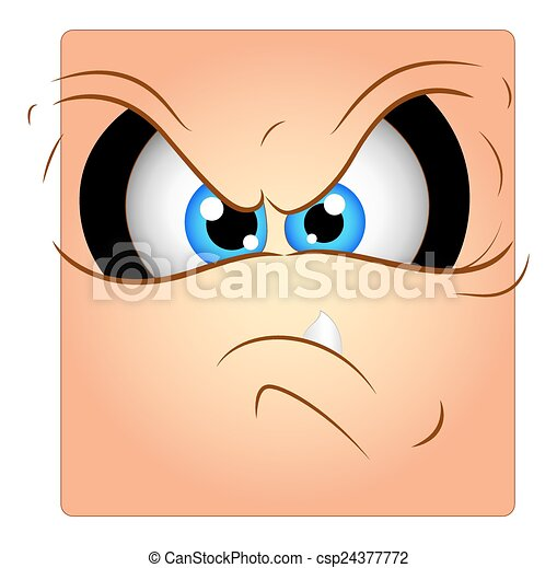 Angry Face Expression Box Smiley - csp24377772