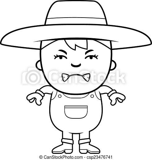 Angry farmer boy. A cartoon illustration of a farmer boy with an ...