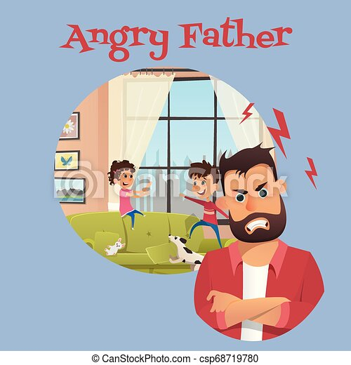 Angry Father Look After Playing Children Banner - csp68719780