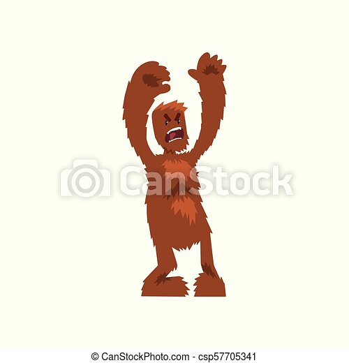 Angry ferocious bigfoot mythical creature cartoon character vector Illustration on a white background - csp57705341