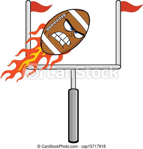 Angry Flaming Football Ball  - csp15717918