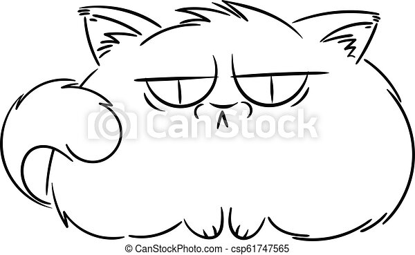 Angry furry cartoon cat. Cute grumpy cat for prints, design, cards, tag. - csp61747565