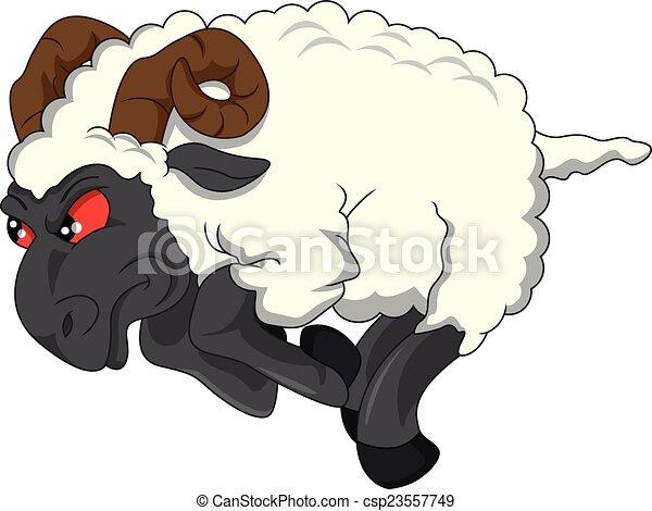 angry goat cartoon - csp23557749