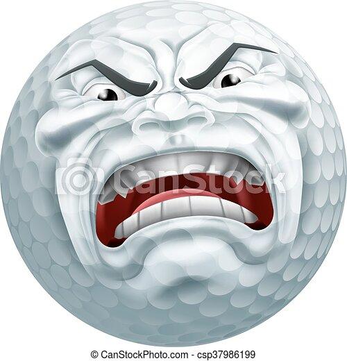 Angry Golf Ball Sports Cartoon Mascot - csp37986199