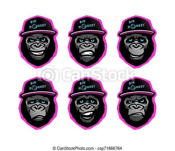 Angry gorilla head in the baseball cap on a dark background. Vector illustration. - csp71866764