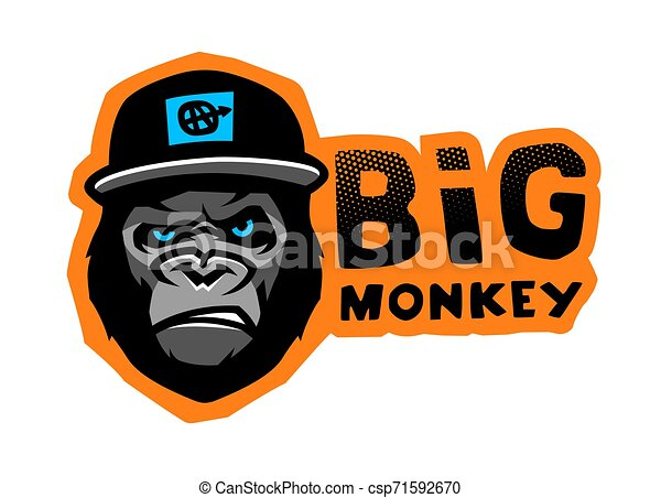 Angry gorilla head in the baseball cap on a dark background. Vector illustration. - csp71592670