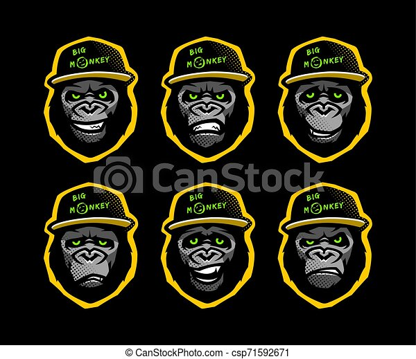 Angry gorilla head in the baseball cap on a dark background. Vector illustration. - csp71592671