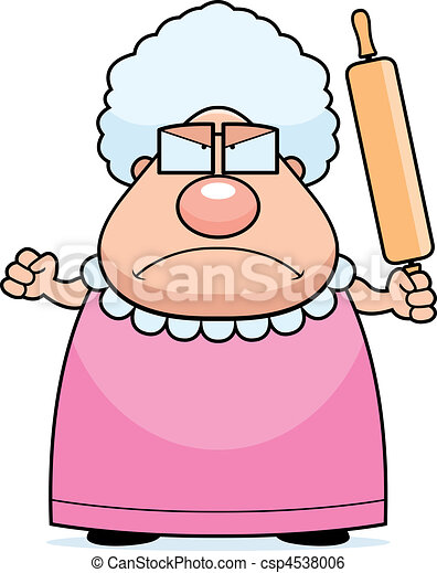 angry grandma a cartoon grandma with an angry expression rh canstockphoto com clipart granny clip art grandma with grandkids