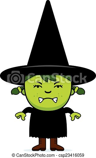 Angry Green Witch - csp23416059