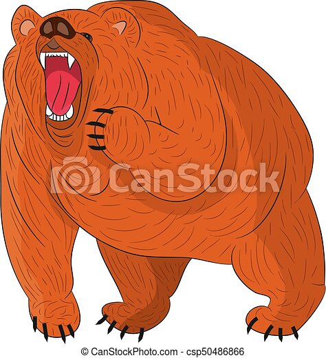 Angry grizzly bear (brown) growls, cartoon on white background. - csp50486866