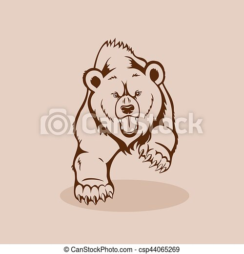 Angry Grizzly Bear - csp44065269