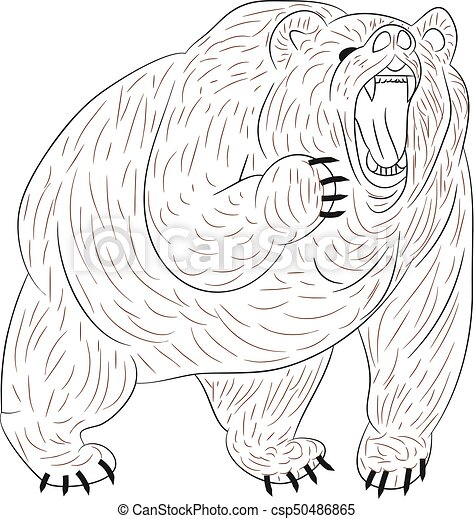 Angry grizzly bear growls, silhouette on white background. - csp50486865