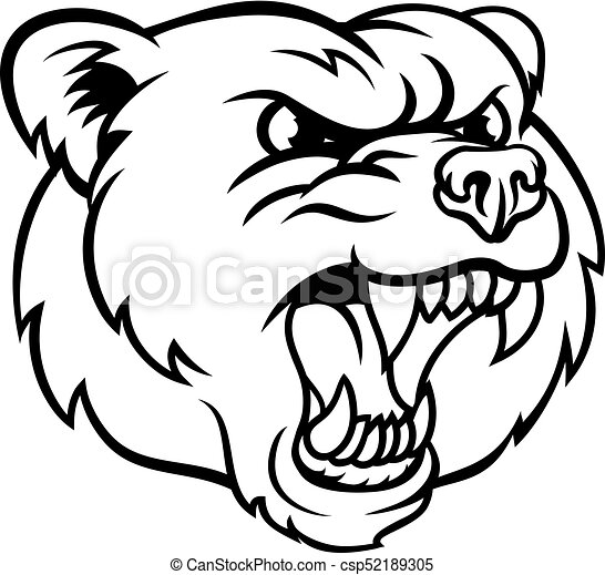 Angry  Grizzly Bear Sports Mascot Face - csp52189305