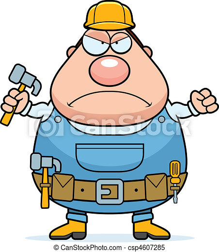 angry handyman an angry cartoon handyman frowning and looking upset rh canstockphoto com handyman clipart free download clipart handyman with tools
