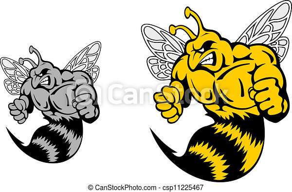 Angry hornet or yellow jacket mascot - csp11225467