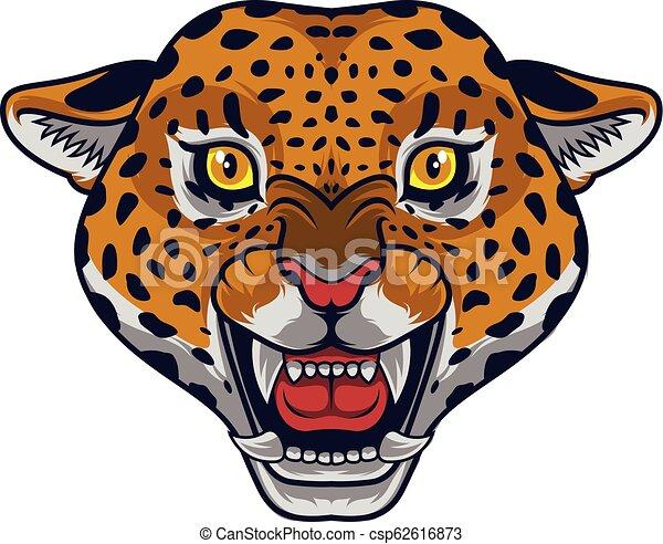 Angry leopard head mascot - csp62616873