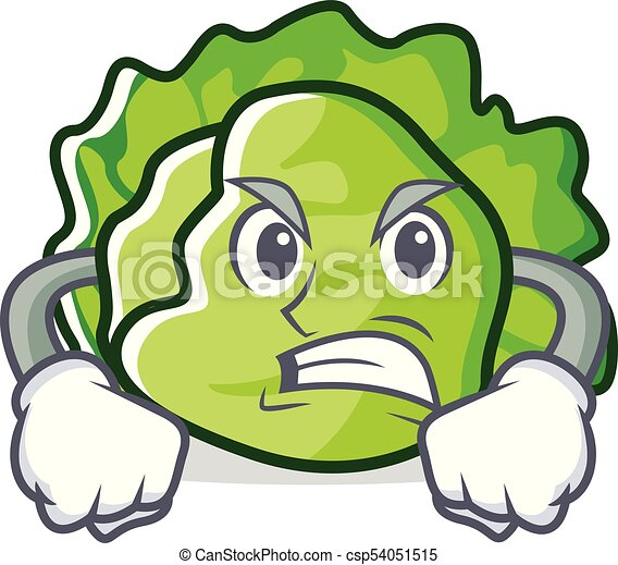 Angry lettuce character cartoon style - csp54051515