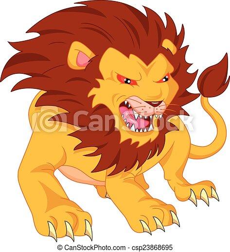 angry lion cartoon - csp23868695