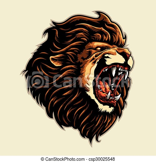 angry lion head - csp30025548