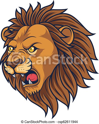 Angry lion head mascot - csp62611944