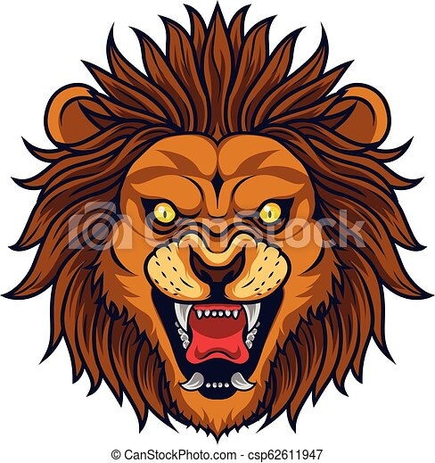 Angry lion head mascot - csp62611947