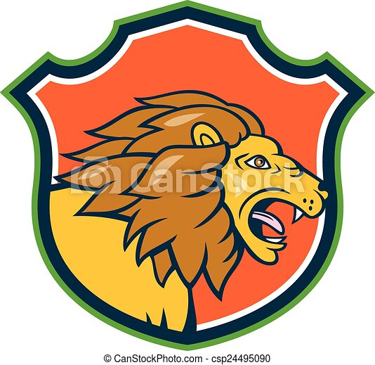 angry lion head roar shield cartoon illustration of an eps rh canstockphoto com lion head logo for sale lion head logo clothing