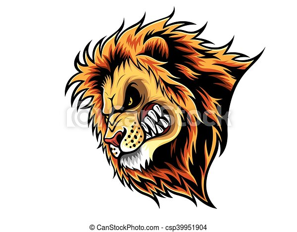 Angry Lion Head - csp39951904