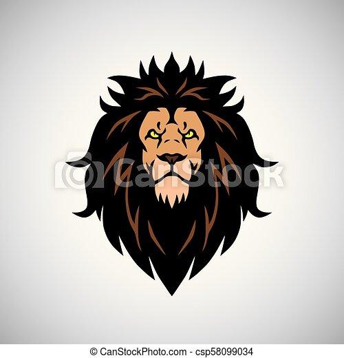 Angry Lion King Head Logo Design Mascot - csp58099034