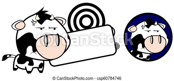 Angry Little Cow Cartoon Copy Space Cute Little Cow Cartoon Copy