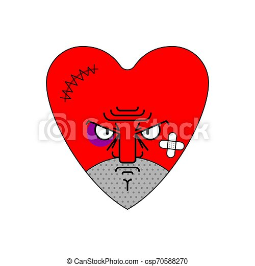 Angry love. Evil heart. Dissatisfied amur. Vector illustration - csp70588270