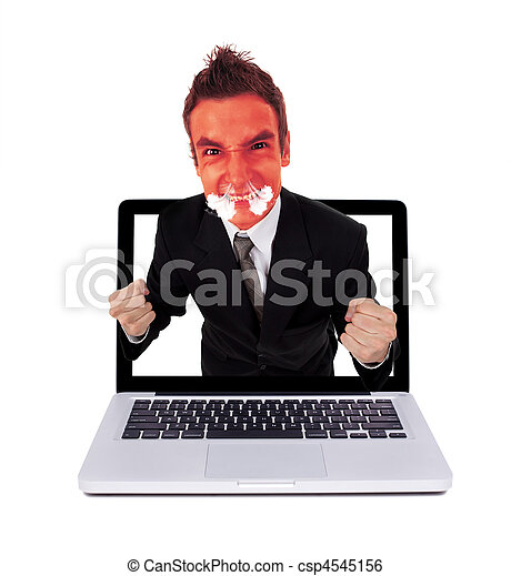 Angry man coming out from laptop - csp4545156