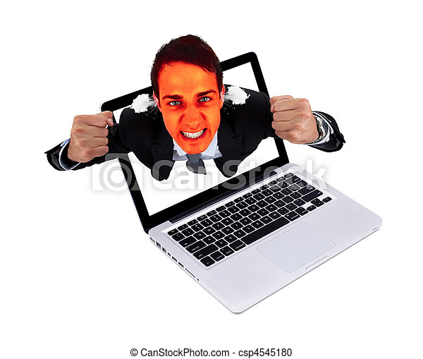 Angry man coming out from laptop - csp4545180