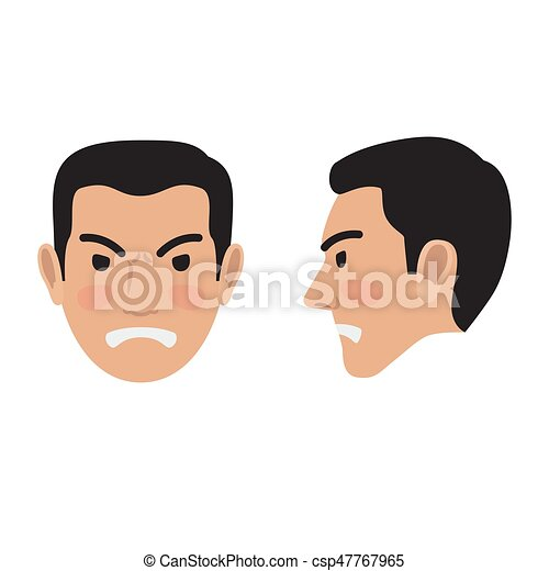 angry man face from two sides flat vector icon angry brunet man rh canstockphoto com