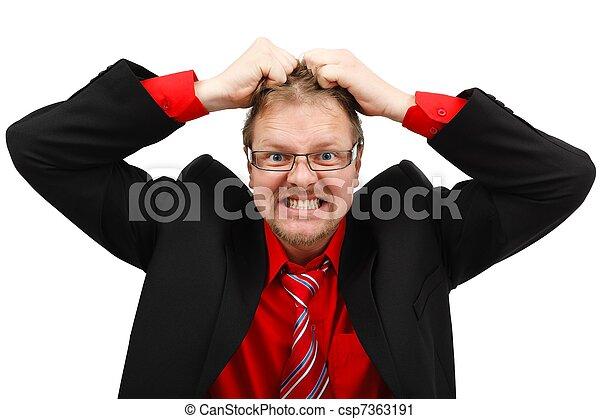 Angry man pulling his hair - csp7363191