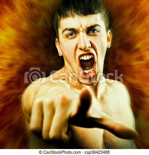 Angry Man Screaming and Pointing Finger - csp36423488