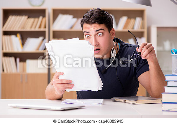 Angry man with too much paperwork to do - csp46083945