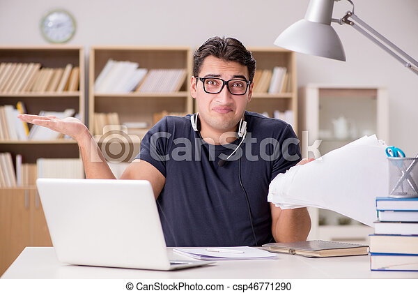 Angry man with too much paperwork to do - csp46771290