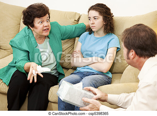 Angry Mother and Daughter Therapy - csp5398365