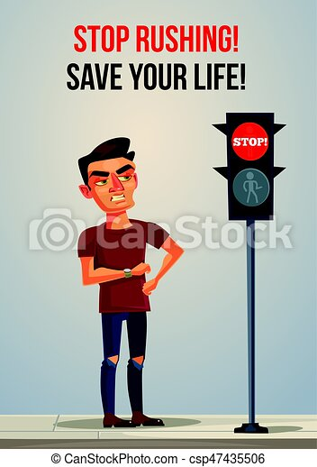 Angry nerves hurrying late man is waiting for green color traffic light and look on his watch. Vector flat cartoon illustration - csp47435506