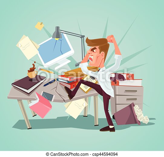 Angry office worker character crash workplace. Vector flat cartoon illustration - csp44594094