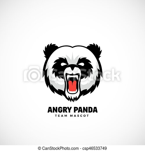 angry panda abstract vector team mascot label or logo template