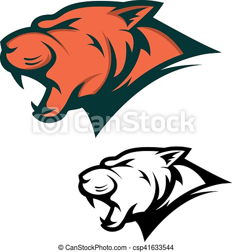 Angry Panther Head With Opened Mouth Sport Team Mascot Design