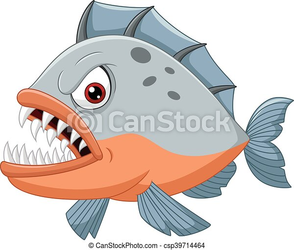 Angry piranha cartoon - csp39714464