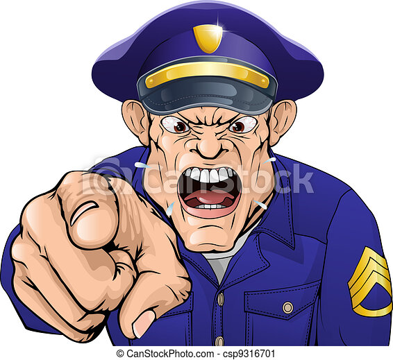 Angry policeman Illustration of a cartoon angry policeman cop or