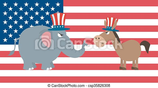 Angry Political Elephant Vs Donkey - csp35826308