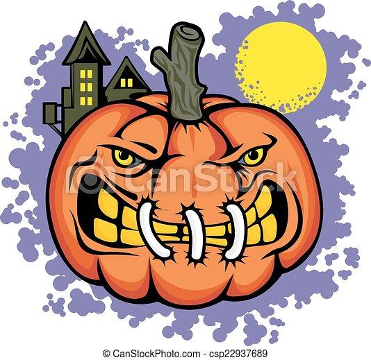 Angry pumpkin - csp22937689